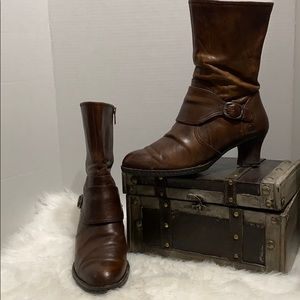 Born Brown Leather Zip Mid-Calf Heel Boots Womens
